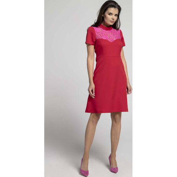 e480af9c Czerwona Wizytowa Rozkloszowana Sukienka z Koronką