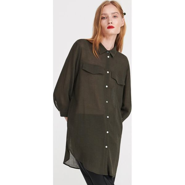 e0c5e4d0c89f8c Długa koszula z wiskozy - Khaki - Brązowe koszule damskie Reserved ...