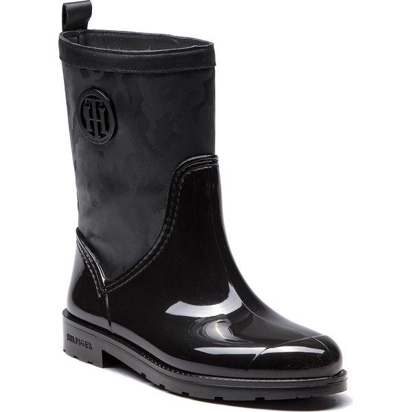 275153485ad34 Kalosze TOMMY HILFIGER - Shiny Camo Rain Boot FW0FW03318 Black 990 ...