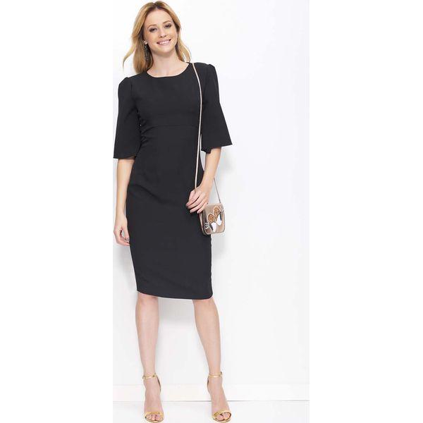 020ed21836 Czarna Sukienka z Prostokątnym Wycięciem na Plecach - Sukienki ...