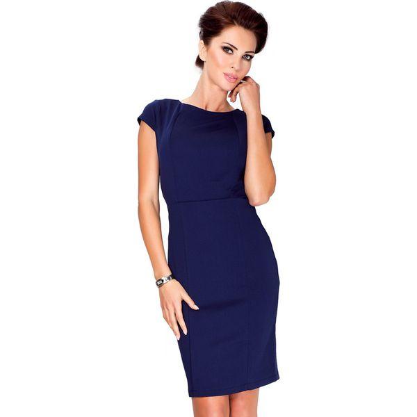 61ea545886 Elegancka Sukienka Z Krótkim Rękawkiem Granatowa - Sukienki damskie ...