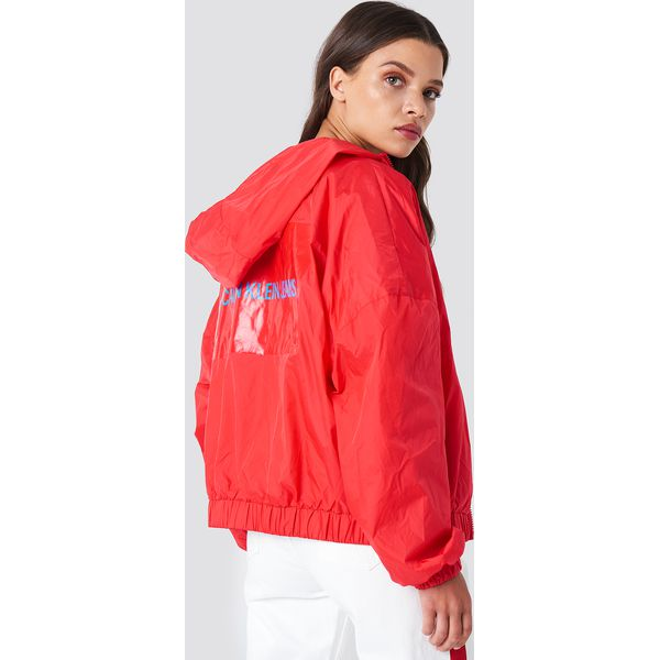 a3e2eaeede484 Calvin Klein Kurtka Hooded Zip Up Nylon Windbreaker - Red - Kurtki ...