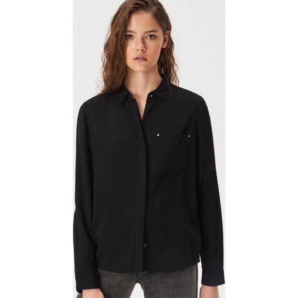 Koszula z kieszenią Czarny Czarne koszule damskie Sinsay  bI13D
