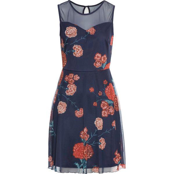 360d180759 Sukienka z siatkowego materiału w kwiaty bonprix ciemnoniebieski ...