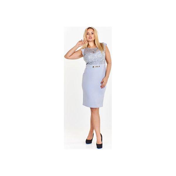 31f4145fe3 Ołówkowa sukienka z wyszywaną górą ozdobioną cekinami i przejrzystą ...