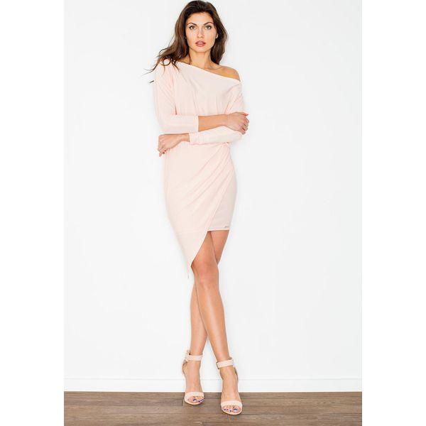 11731e4952d02 Jasno Różowa Asymetryczna Sukienka z Rękawem 3/4 - Sukienki damskie ...