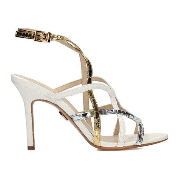 cfb4b877159054 Skórzane sandały w kolorze biało-srebrno-złotym - Sandały damskie ...