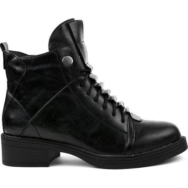 Czarne płaskie botki ocieplane CR 3366 Czarne botki