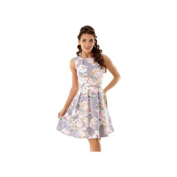 bf5c108a45 Sukienka kontrafałda szara w kwiaty ED002-10 - Sukienki damskie ...