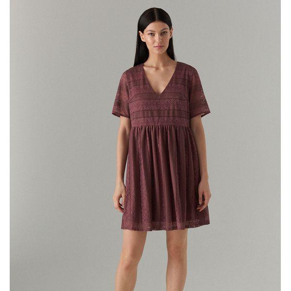 ccde0eafe6 Koronkowa sukienka z krótkimi rękawami - Brązowy - Sukienki damskie ...