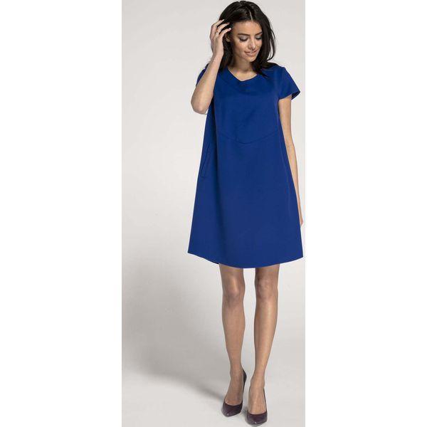 4b20745cc3 Kobaltowa Trapezowa Sukienka w Serek z Kieszeniami - Sukienki ...