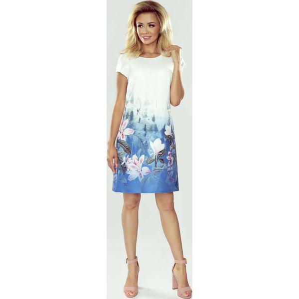 4dfe458b1a6217 Biała Wizytowa Sukienka z Roślinnym Nadrukiem - Białe sukienki ...