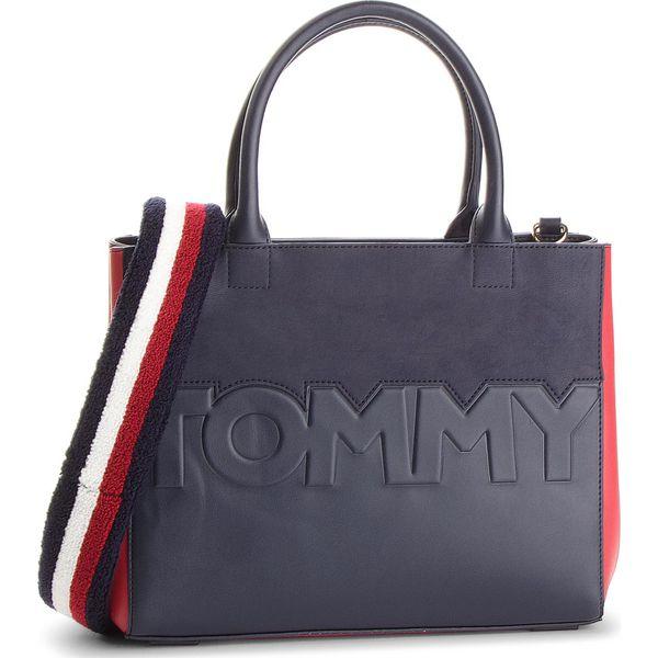 0f6cafcabab7e Torebka TOMMY HILFIGER - Tommy Logo Satchel AW0AW05664 901 - Torebki ...