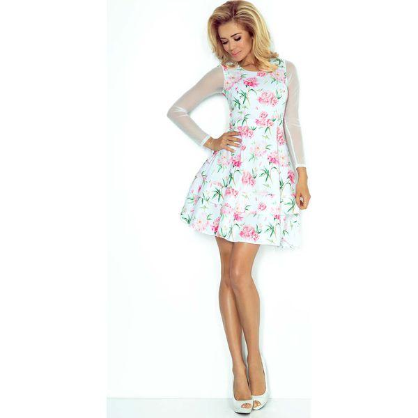 e57c197f78 Sukienka Wizytowa Rozkloszowana z Transparentnymi Rękawami - Różowe ...