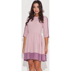 6699134eb8 Elegancka Różowa Sukienka z Rękawem 3 4 z Kolorowymi Lamówkami. Sukienki  damskie marki Molly