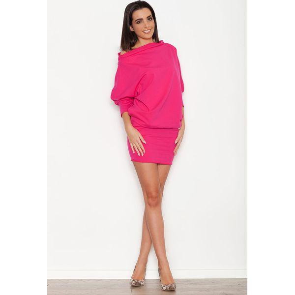 26ddd0d8cb Różowa Dzianinowa Sukienka z Nietoperzowym Długim Rękawem - Sukienki ...