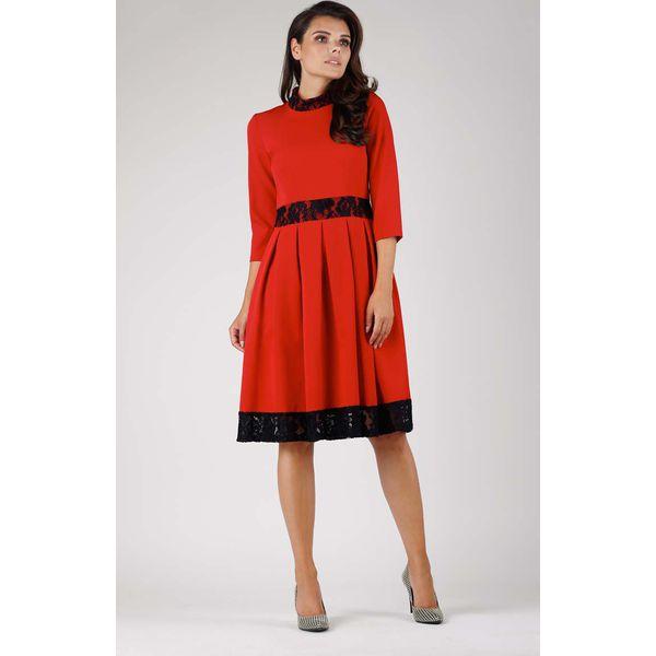 bb94cd1a3d Czerwona Wizytowa Rozkloszowana Sukienka z Koronką - Sukienki ...