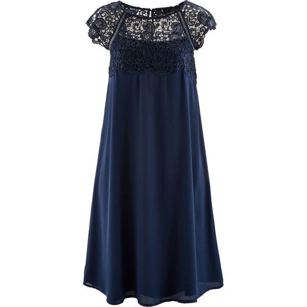 ec7e3d1f99 Sukienka szyfonowa z koronką bonprix ciemnoniebieski - Sukienki ...