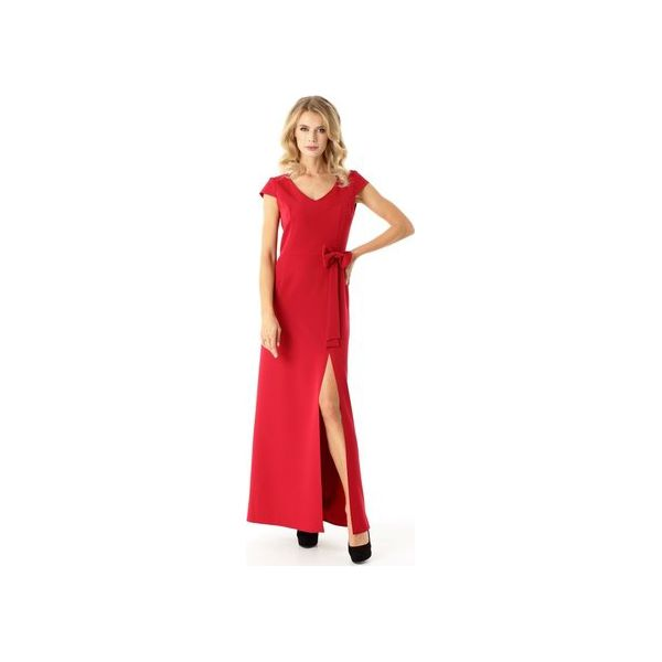 002c410362 Długa prosta sukienka Hellen malina ED029-1 - Sukienki damskie marki ...