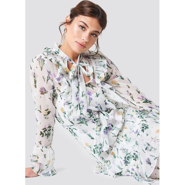 7365911e50 NA-KD Boho Sukienka z falbankami i wiązaniem - Multicolor - Sukienki ...