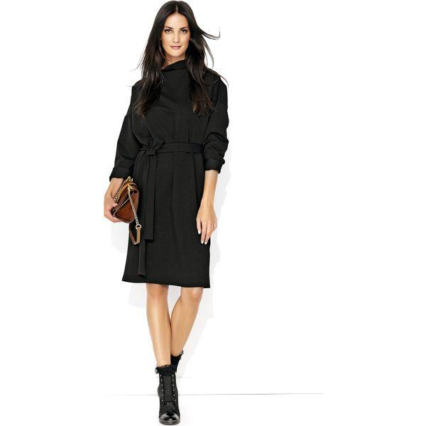 15c54011ca Czarna Kimonowa Midi Sukienka z Golfem - Sukienki damskie marki ...