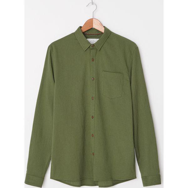 Koszula z kreszowanej bawełny Zielony Zielone koszule  1zIJk