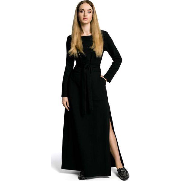 a2a83e2c1c Czarna Sukienka Dresowa Maxi z Dekoltem Caro z Rozcięciem - Sukienki ...