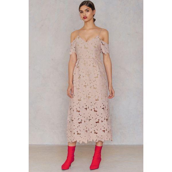 fe2a986b6e NA-KD Boho Koronkowa sukienka z wycięciami na ramionach - Pink ...