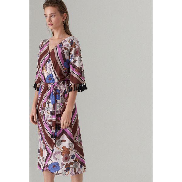 01bd853280 Kopertowa midi sukienka we wzory - Różowy - Sukienki damskie marki ...