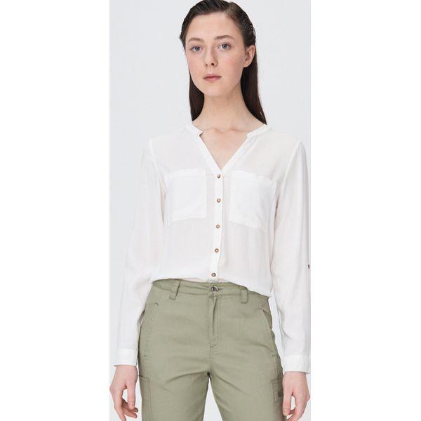 Gładka koszula typu collar band Kremowy Białe koszule  hnDV7