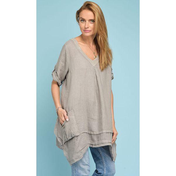 9095db72e8 Lniana bluzka w kolorze szarobrązowym - Bluzki damskie marki Rodier ...