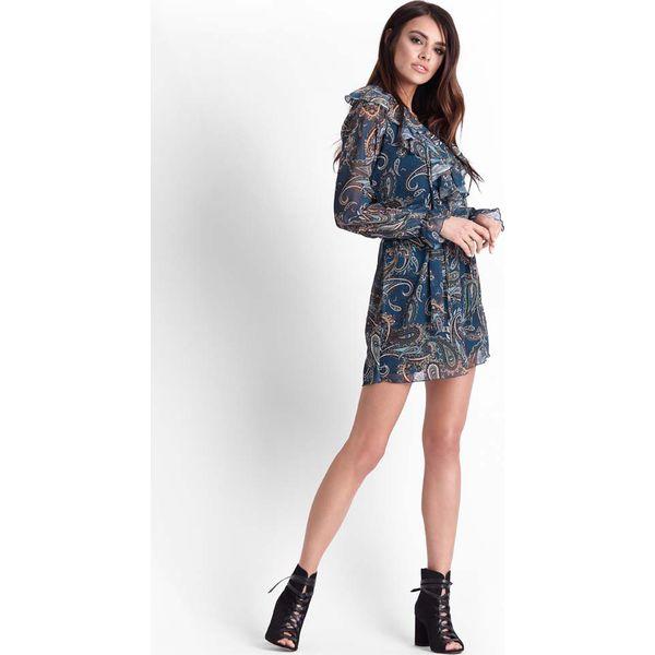 399f29cf81 Morska Zwiewna Sukienka w Stylu Boho we Wzory Peisley - Sukienki ...