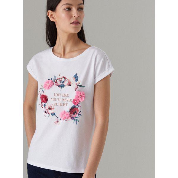 2e92459958 Bawełniana koszulka z kwiatowym nadrukiem - Biały - T-shirty damskie ...