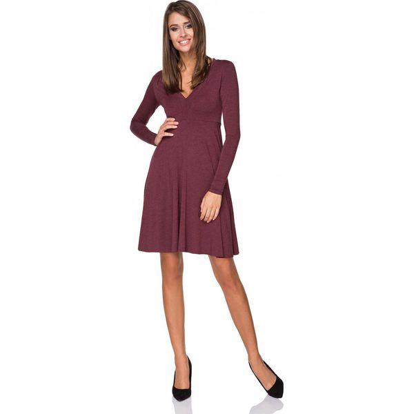 b371779a32 Bordowa Sukienka Rozkloszowana Midi z Dekoltem w Szpic - Sukienki ...