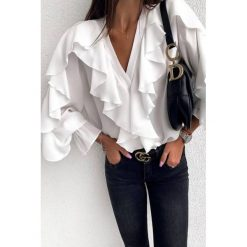 Damska koszula ZAZINA WHITE Białe koszule damskie IVET, l  QbRRV