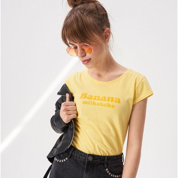 7acd5ca6c T-shirt z napisem - Żółty - T-shirty damskie marki Sinsay. Za 9.99 zł. - T-shirty  damskie - T-shirty i topy damskie - Odzież damska - Kobieta - Sklep Super  ...