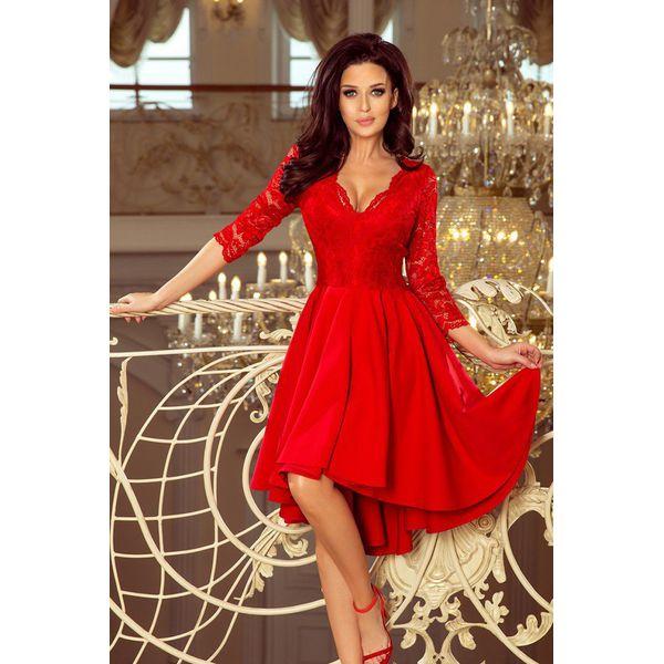1c285615fd Nicolle Sukienka Z Dłuższym Tyłem Z Koronkowym Dekoltem Czer ...