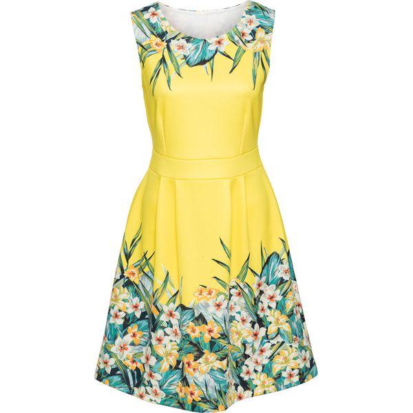3d14695243 Sukienka w kwiaty bonprix żółto-zielony w kwiaty - Sukienki damskie ...