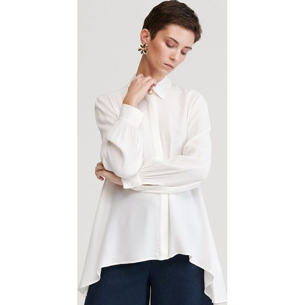 Koszula z marszczonej tkaniny Kremowy Białe koszule  xyUWr