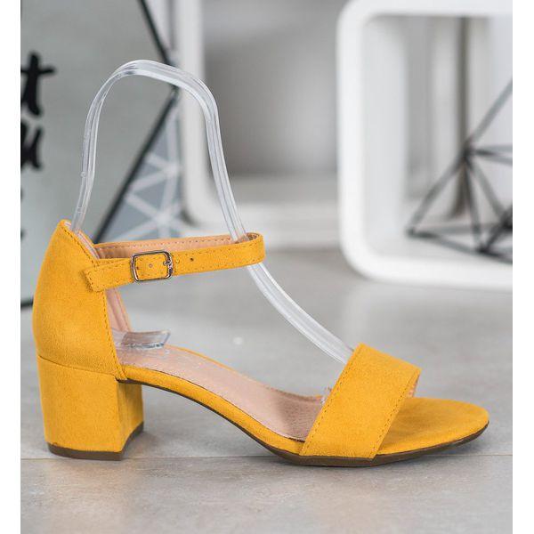 Filippo Żółte Sandały Na Obcasie