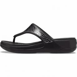 Crocs japonki damskie Monterey Metallic Wedge Flip (206303 0GQ) 3637 czarne