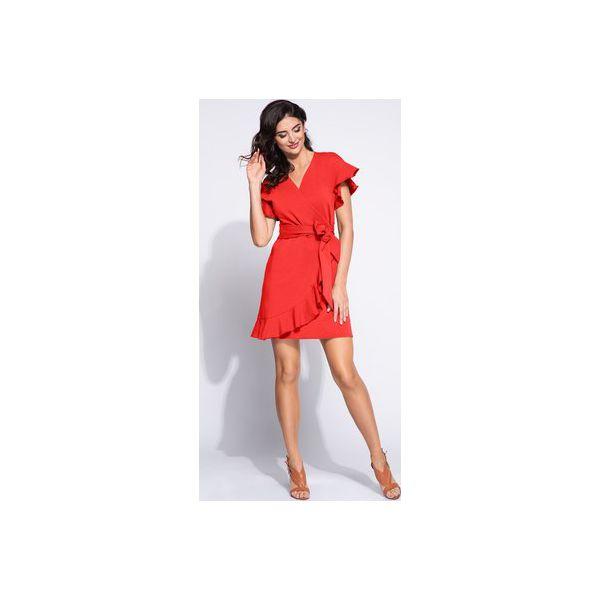 207c356a3b9fdd Czerwona sukienka kopertowa z falbanką - Czerwone sukienki damskie ...