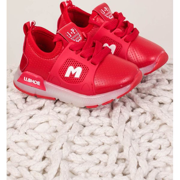 czerwone buty sportowe sznurowane casu b331