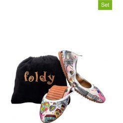1f23fab30b0f1 2-częściowy zestaw - baleriny ze wzorem, torebka. Baleriny damskie marki  Foldy.