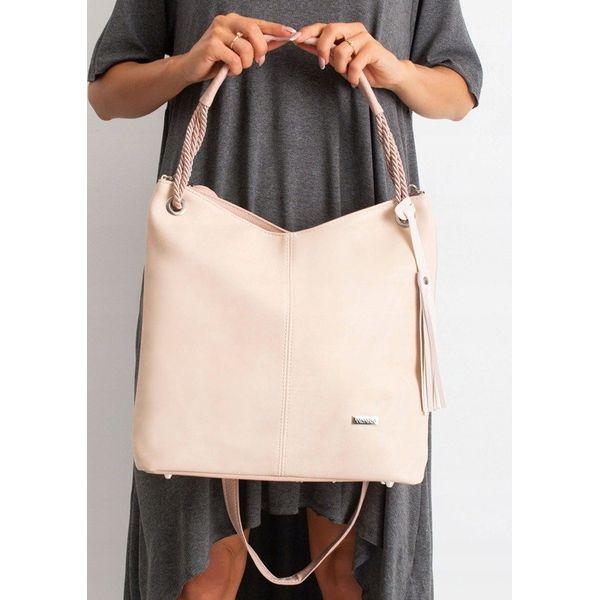 Torebka damska shopper bag worek 0006 różowa RÓŻOWY PUDROWY