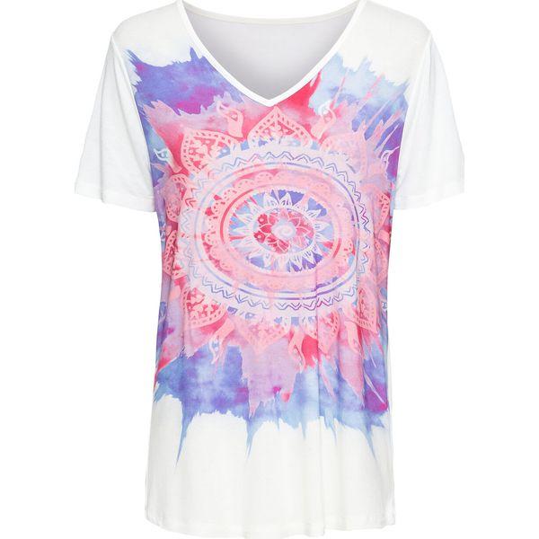 cb3d87499 T-shirt z dekoltem w serek bonprix biały z nadrukiem - T-shirty ...