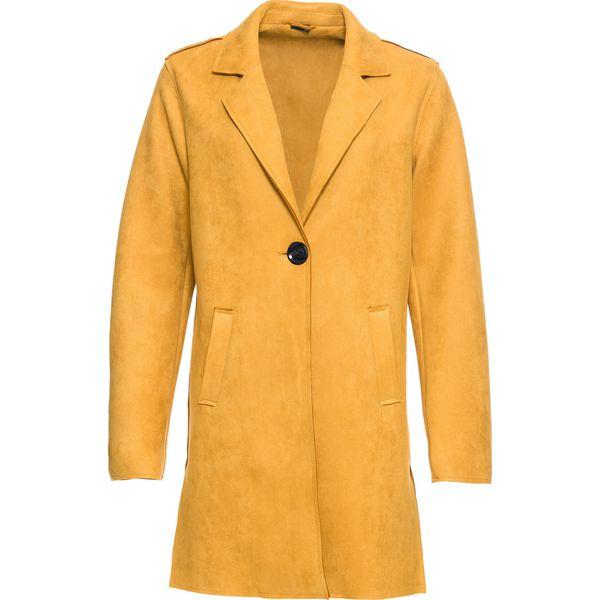 38274abbb9122 Płaszcz ze sztucznej skóry welurowej bonprix żółty - Płaszcze ...