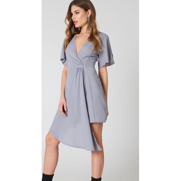 53f989ea61 Boohoo Elegancka kopertowa sukienka - Grey - Sukienki damskie marki ...