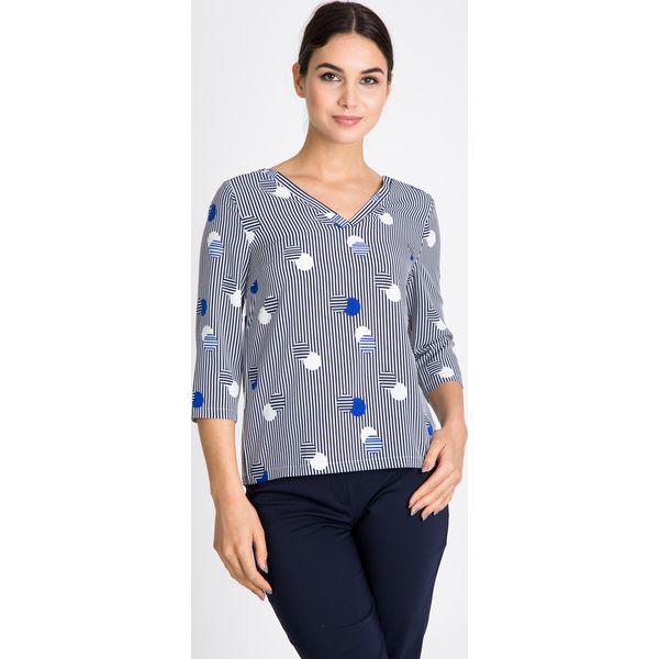 bb5b345854c9 Bluzka w paski i kropki QUIOSQUE - Szare bluzki damskie marki ...