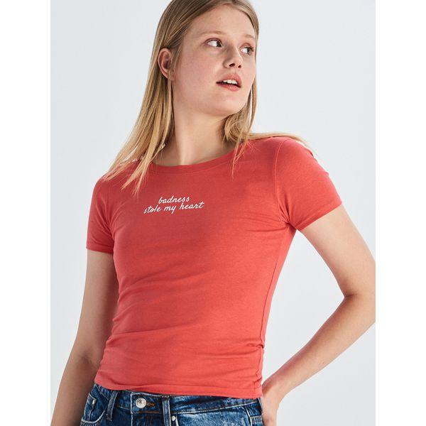 3c6c8bfef T-shirt z napisem - Pomarańczo - T-shirty damskie marki Sinsay. W  wyprzedaży za 7.99 zł. - T-shirty damskie - T-shirty i topy damskie -  Odzież damska ...